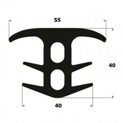 aVolrubber Dilatieprofiel T-profiel | hoogte 40 mm | breedte 55 mm