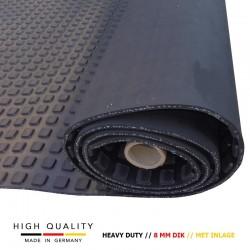 Vierkante noppen rubber vloer | Heavy Duty | 8 mm dik met inlage | 100cm breed