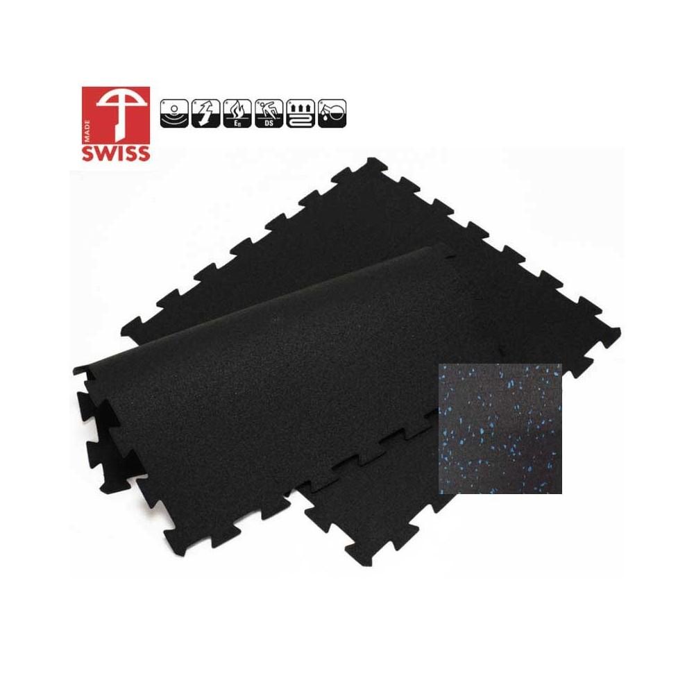 Sportvloer ProfiGym puzzel tegel Blauw Zwart | 6mm dik | 100cm x 100cm