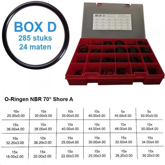 O-ringen | Assortimentsbox D - NBR Nitril Oliebestendig | 285 ringen | 24 maten