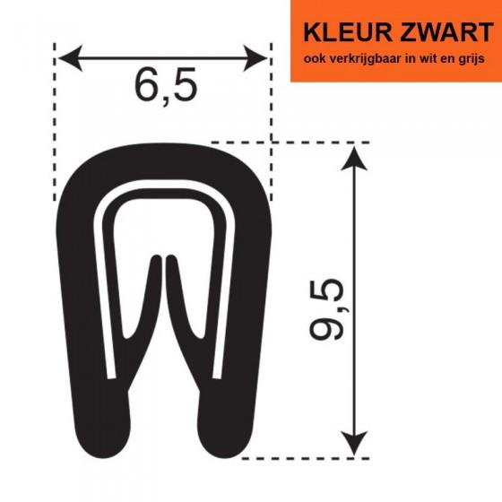 PVC Kantafwerkprofiel (klemprofiel) Zwart | breedte 6,5mm | hoogte 9,5mm | klembereik 0,5-2mm