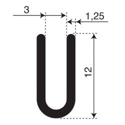 Volrubber U Profiel | binnenmaat 3mm | hoogte 12mm | dikte 1,25mm