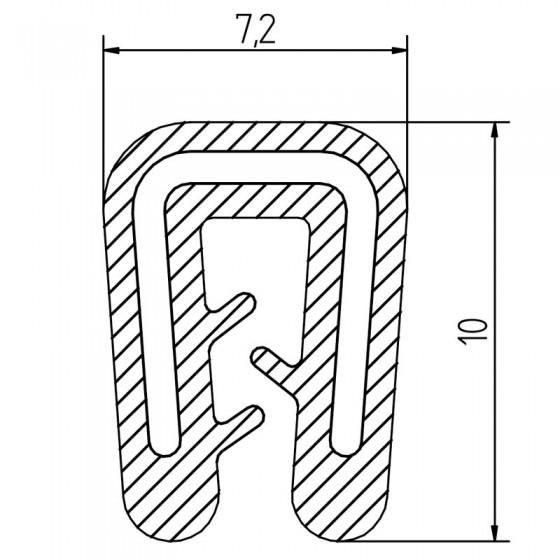 Siliconen klemprofiel Zwart | FDA keurmerk | 7,2 x 10 mm | klembereik 1-2 mm