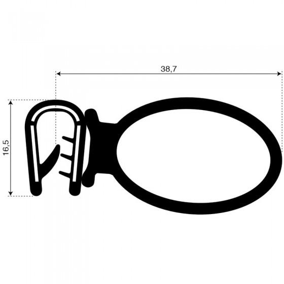 Klemprofiel met mosrubber kraal aan de zijkant | 16.5x38.7mm | klembereik 3mm