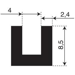 Volrubber U Profiel | binnenmaat 4mm | hoogte 8,5mm | dikte 2,4mm