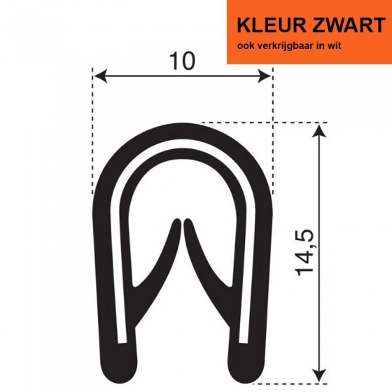 PVC Kantafwerkprofiel (klemprofiel) | Zwart| breedte 10mm | hoogte 14,5mm | klembereik 2,5 - 4mm