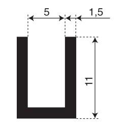 Volrubber U Profiel | binnenmaat 5mm | hoogte 11mm | dikte 1,5mm
