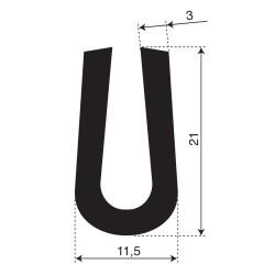 Volrubber U Profiel | binnenmaat 5,5mm | hoogte 21mm | dikte 3mm