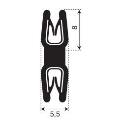 Dubbel kantprofiel | breedte 5,5mm | hoogte 8mm | klembereik 0,8-1,5mm