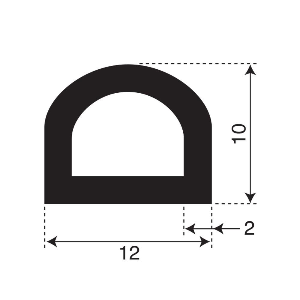Mosrubber D profiel | breedte 12mm | hoogte 10mm | 1 zijde zelklevend