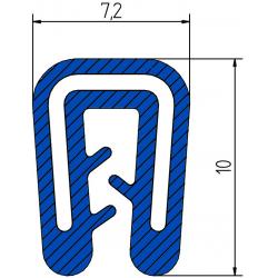 Siliconen klemprofiel Blauw | FDA keurmerk | 7,2 x 10 mm | klembereik 1-2 mm
