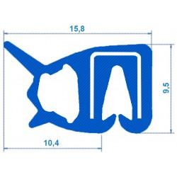 Siliconen klemprofiel blauw met kraal | FDA keurmerk | 15,8 x 9,5 mm | klembereik 2,0 - 2,5 mm