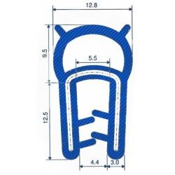 Siliconen klemprofiel blauw met kraal | FDA keurmerk | 22 x 12,8 mm | klembereik 1,0 - 4,0 mm