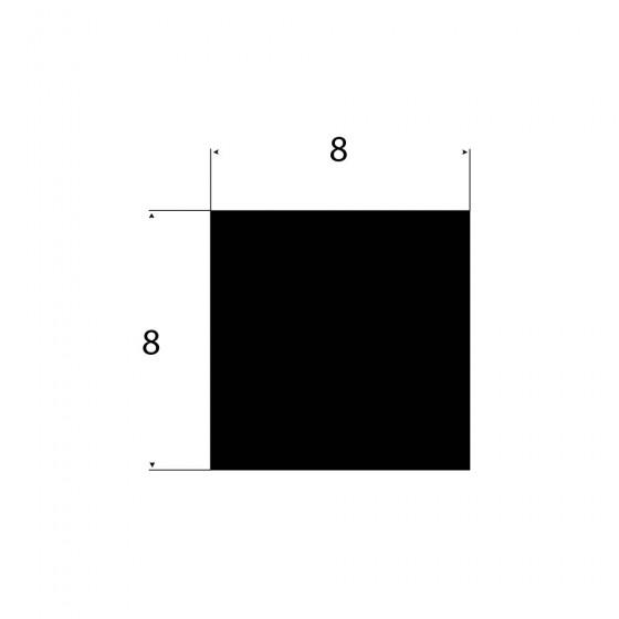 Rubber vierkant snoer 8mm x 8mm