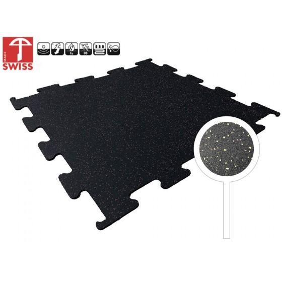Sportvloer Puzzel Tegel Zwart/Geel | 8mm dik | 100cm x 100cm