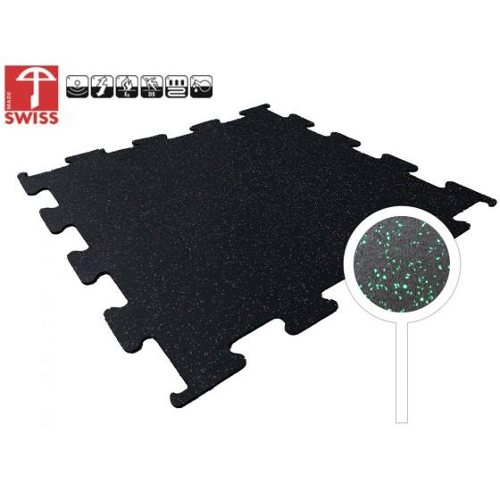 Sportvloer Puzzel Tegel Zwart/Groen   8mm dik   100cm x 100cm