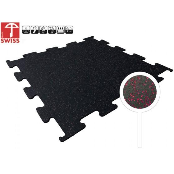Sportvloer Puzzel Tegel Zwart/Rood | 8mm dik | 100cm x 100cm