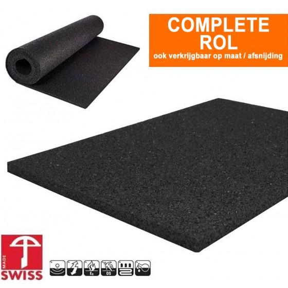 Asfalt look Granulaat rubber extra sterk (850kg) (onder)vloer   4mm dik   125cm breed   Rol 10 meter