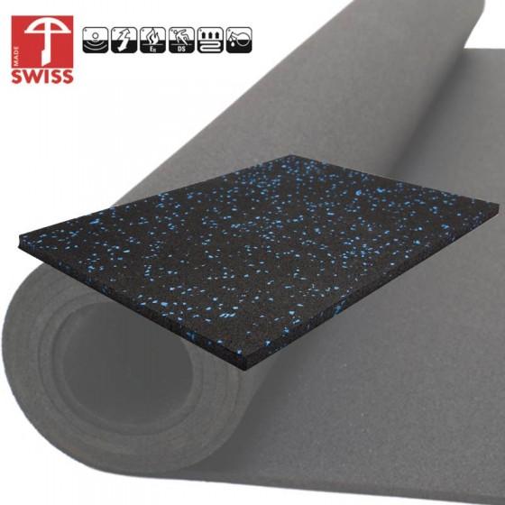 Sportvloer Granulaat Zwart Blauw | 6mm dik | 125 cm breed