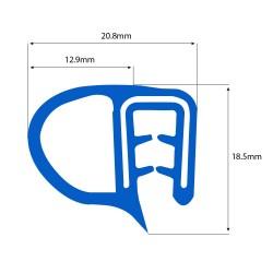 Siliconen klemprofiel blauw met kraal | FDA keurmerk | 18,5 x 20,8 mm | Rol 25 meter