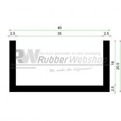 Volrubber U Profiel | binnenmaat 35mm | hoogte 20,5mm | dikte 2,5mm