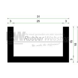 Volrubber U Profiel | 25mm inwendig | hoogte 18mm | dikte 3mm