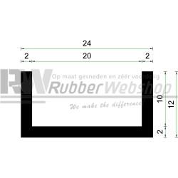 Volrubber U Profiel | binnenmaat 20mm | hoogte 12mm | dikte 2mm