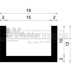 Volrubber U Profiel | binnenmaat 15mm | hoogte 12mm | dikte 2mm