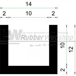 Volrubber U Profiel | binnenmaat 10mm | hoogte 12mm | dikte 2mm