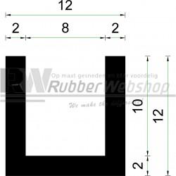 Volrubber U Profiel | binnenmaat 8mm | hoogte 12mm | dikte 2mm