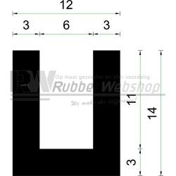 Volrubber U Profiel | binnenmaat 6mm | hoogte 14mm | dikte 3mm