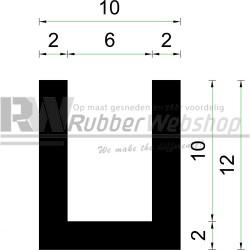 Volrubber U Profiel | binnenmaat 6mm | hoogte 12mm | dikte 2mm