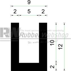 Volrubber U Profiel | binnenmaat 5mm | hoogte 12mm | dikte 2mm