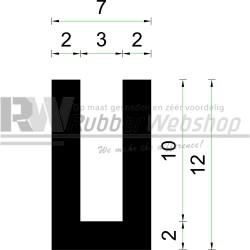 Volrubber U Profiel | binnenmaat 3mm | hoogte 12mm | dikte 2mm