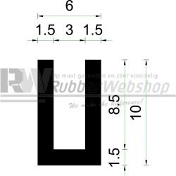 Volrubber U Profiel | binnenmaat 3mm | hoogte 10mm | dikte 1,5mm