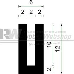 Volrubber U Profiel | binnenmaat 2mm | hoogte 12mm | dikte 2mm