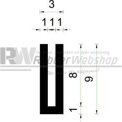 Volrubber U Profiel | binnenmaat 1mm | hoogte 9mm | dikte 1mm